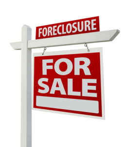 Foreclosure Home For Sale Real Estate Sign Isolated on a White Background with Clipping Paths - Right Facing.